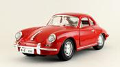 Porsche 356B Coupe 1961, scale 1:18 in Red by Bburago, miniature diecast scale model car.