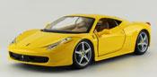 Ferrari 458 Italia, scale 1:24 in Yellow by Bburago, diecast miniature scale model car