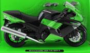 Kawasaki ZX-14 2011 Ninja, scale 1:12 in Black-Green by NewRay, diecast miniature scale model bike.