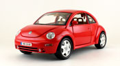 Volkswagen New Beetle 1998, scale 1:18 in Red by Bburago, miniature diecast scale model car.