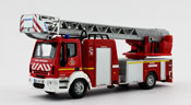 IVECO Magirus 150E28 Rescue Ladder Truck, scale 1:50 in Red by Bburago, diecast miniature scale model fire ladder truck