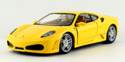 Ferrari F430, scale 1:24 in Yellow by Bburago, diecast miniature scale model car