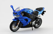 Kawasaki Ninja ZX-10R, scale 1:18 in Metallic Blue by Bburago, diecast miniature scale model bike