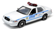 Ford Crown Victoria- New York City Police Department (NYPD) Interceptor, scale 1:18 in White-Blue by GreenLight Collectibles, diecast miniature scale model police car.