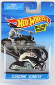 Scorchin Scooter in Black-White by HotWheels, diecast miniature scale model bike toy, Hotwheels bike, Hot Wheels toy.