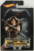 Power Pistons - Wonder Woman (Dawn of Justice) in Yellow by HotWheels, diecast miniature scale model car toy, Hotwheels car, Hot Wheels toy, Batman V Superman character car.