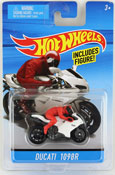 Ducati 1098R in White-Red by HotWheels, diecast miniature scale model bike toy, Hotwheels bike, Hot Wheels toy.