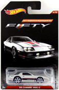Camaro IROC-Z 1985 in Silver by HotWheels, diecast miniature scale model car toy, Hotwheels car, Hot Wheels toy, Hotwheels Camaro Fifty collection, Hot Wheels Camaro 50th Anniversary Collection.