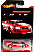 Camaro Pro Stock 2010 in Red by HotWheels, diecast miniature scale model car toy, Hotwheels car, Hot Wheels toy, Hotwheels Camaro Fifty collection, Hot Wheels Camaro 50th Anniversary Collection.