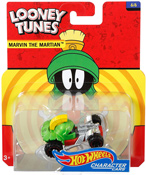Marvin The Martian in Green by HotWheels, diecast miniature scale model car toy, Hotwheels car, Hot Wheels toy car, Looney Tunes character car.