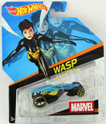 Wasp in Blue-Yellow by HotWheels, diecast miniature scale model car toy, Hotwheels car, Hot Wheels toy, Marvel character car.