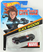 Black Widow - Captain America Civil War in Black by HotWheels, diecast miniature scale model car toy, Hotwheels car, Hot Wheels toy, Marvel character car.