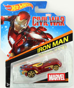 Iron Man - Captain America Civil War in Red by HotWheels, diecast miniature scale model car toy, Hotwheels car, Hot Wheels toy, Marvel character car.