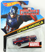 Captain America - Civil War in Blue-Red by HotWheels, diecast miniature scale model car toy, Hotwheels car, Hot Wheels toy, Marvel character car.