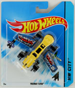 Freeway Flyer in Yellow-Grey by HotWheels, diecast miniature scale model plane toy, Hotwheels plane, Hot Wheels toy.