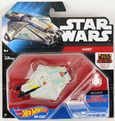 Ghost (Star Wars starship) in White by HotWheels, Star Wars starship by Hot Wheels, Star Wars spacecraft, Star Wars spaceship, diecast miniature scale model starship toy, Hotwheels plane, Hot Wheels toy.