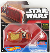 Speeder - Rey (Star Wars starship) in Brown by HotWheels, Star Wars starship by Hot Wheels, Star Wars spacecraft, Star Wars spaceship, diecast miniature scale model starship toy, Hotwheels plane, Hot Wheels toy.