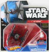 Tie Fighter - First Order Special Forces (Star Wars starship) in Black by HotWheels, Star Wars starship by Hot Wheels, Star Wars spacecraft, Star Wars spaceship, diecast miniature scale model starship toy, Hotwheels plane, Hot Wheels toy.