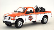 Ford F-350 Super Duty Pickup 1999, scale 1:27 in WhiteOrange + EL Knucklehead 1936 HD, scale 1:24 in Black by Maisto