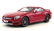 Mercedes Benz SL-63 AMG Hard Top, scale 1:18 in Red by Maisto, miniature diecast scale model car, toy car, kids toys, toys for boys, vehicle toys, licensed automobile miniature replica model vehicle