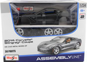 Corvette Stingray Coupe 2014, Assembly Kit, scale 1:24 in Metallic Grey by Maisto, diecast miniature scale model car, model car assembly kit.