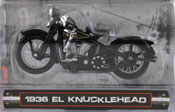 EL Knucklehead 1936 Harley Davidson, scale 1:24 in Black by Maisto, miniature diecast scale model bike.