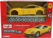 Ferrari F12 Berlinetta, Assembly Kit, scale 1:24 in Yellow by Maisto, diecast miniature scale model car, model car assembly kit.