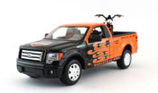 Ford F-150 STX, scale 1:27 in Orange-Black + Harley Davidson bike by Maisto, diecast miniature scale model car, pickup truck