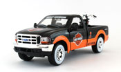 Ford F-350 Super Duty Pickup 1999, scale 1:27 in Black-Orange + Harley Davidson bike by Maisto, diecast miniature scale model car, pickup truck