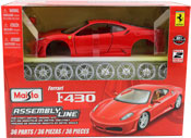 Ferrari F430, Assembly Kit, scale 1:24 in Red by Maisto, diecast miniature scale model car, model car assembly kit.