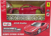 Ferrari 458 Italia-Assembly Kit, scale 1:24 in Red by Maisto, diecast scale model car Assembly kit