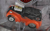 Ford Anglia 1948- Harley Davidson Custom, scale 1:64 in Orange-Black by Maisto, diecast miniature scale model car, Maisto muscle machines car models in Harley Davidson livery.