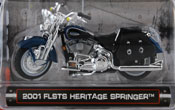 FLSTS Heritage Springer 2001, scale 1:24 in Blue-Black by Maisto, miniature diecast scale model bike.