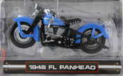 FL Panhead 1948, scale 1:24 in Blue by Maisto, miniature diecast scale model bike.