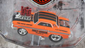 Ford Tunderbolt 1964- Harley Davidson Custom, scale 1:64 in Orange-Black by Maisto, diecast miniature scale model car, Maisto muscle machines car models in Harley Davidson livery.