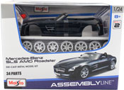 Mercedes Benz SLS AMG Roadster, Assembly Kit, scale 1:24 in Dark Blue by Maisto, diecast miniature scale model car, model car assembly kit.