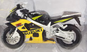 Suzuki GSX-R600, scale 1:18 in Black-Yellow by Maisto, miniature diecast scale model bike