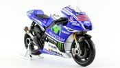 Yamaha YZR-M1, No.99 Yamaha Factory Racing, scale 1:18 in Blue-White by Maisto, diecast miniature scale model bike, grand prix bike scale model.