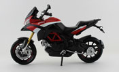 Ducati Multistrada 1200 S Pikes Peak, scale 1:12 in Red-Black by NewRay, diecast miniature scale model bike.