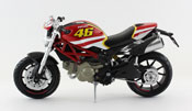 Ducati Monster 796 No.46, scale 1:12 in Red-Yellow by NewRay, diecast miniature scale model bike.
