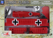 Fokker DR.1, Assembly Kit, size 7.25 inch in Red by NewRay, miniature diecast scaled model plane, toy airplane, toy military fighter plane scale model, aeroplane toy model.