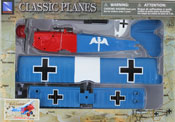 Fokker D.VII, Assembly Kit, size 7.5 inch in Blue by NewRay, miniature diecast scaled model plane, toy airplane, toy military fighter plane scale model, aeroplane toy model.