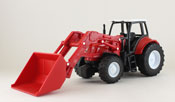 Farm Tractor with Loader, scale 1:32 in Red by NewRay, diecast miniature scale model tractor