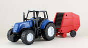 Farm Tractor with Trailer, scale 1:32 in Blue-Red by NewRay, diecast miniature scale model Farm Tractor with Trailer.