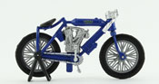 Indian Twin Racer 1908, scale 1:32 in Blue by NewRay, diecast miniature scale model vintage bike