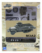 M3A2 Half-track Military vehicle, Assembly Kit, scale 1:32 in Green by NewRay, diecast miniature scale model military vehicle, model military vehicle assembly kit, half-track miniature model assembly kit.