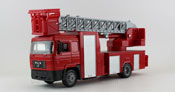 MAN F2000 Fire Ladder Truck, scale 1:43 in Red by NewRay, diecast miniature scale model truck, scale model fire truck.