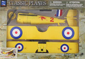 Spad S.VII, Assembly Kit, size 7.5 inch in Yellow by NewRay, miniature diecast scaled model plane, toy airplane, toy military fighter plane scale model, aeroplane toy model.